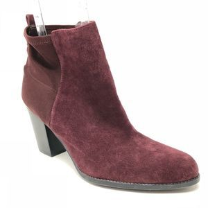 Marc Fisher Frenchie Suede Burgundy Heel Booties 9